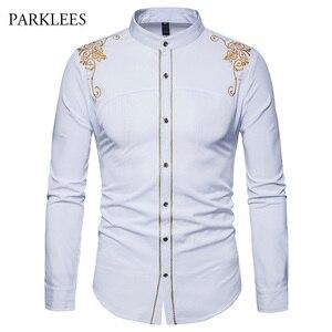 Image 2 - قميص رجالي صيني مطرز باللون الذهبي قميص بياقة الماندرين للرجال فستان رجالي بأكمام طويلة قميص فاخر بقصر قميص سهرة للرجال