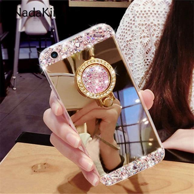 Bling Rhinestone Gương Mềm Trường Hợp với Vòng Tay Đứng Chủ đối với Samsung Galaxy S6 S7 S8 Cạnh Cộng Với Lưu Ý 5 8 C7 C8 C9 Pro