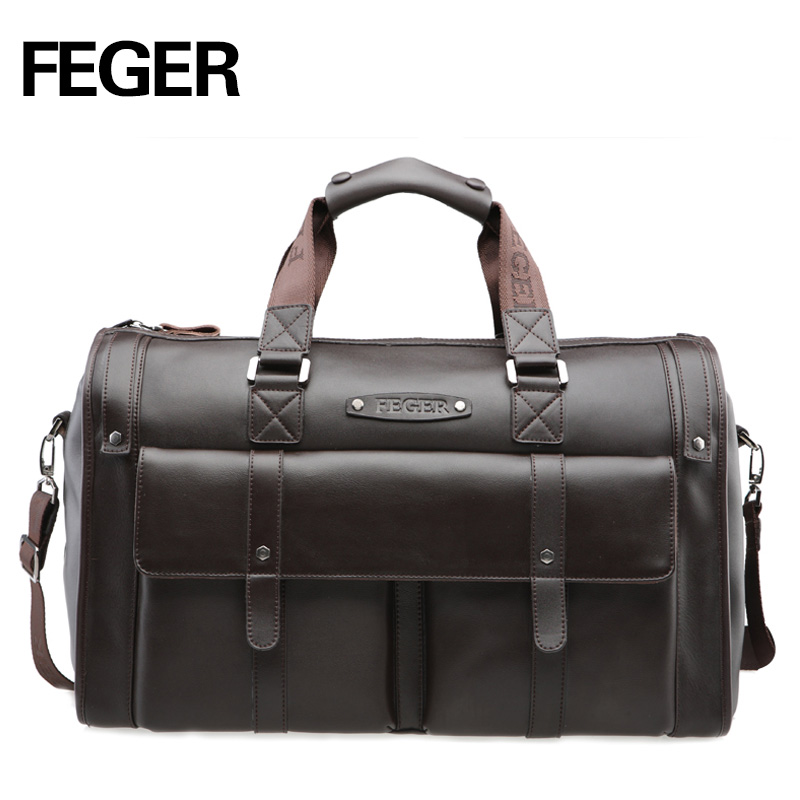FEGER Best Selling Retro Split Leather Travel Bag Weekend bag for Men  Duffel Bag for Daily 354658397eefa