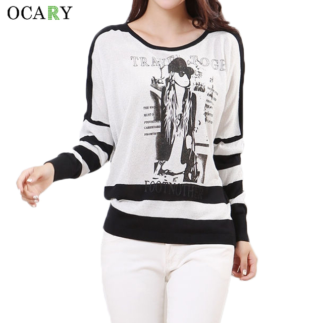 Vintage Batwing Sleeve Women Pullovers Fashion Striped Print Pull Hiver Casual Knitted Ladies Tops Spring Summer Sweater Mujer