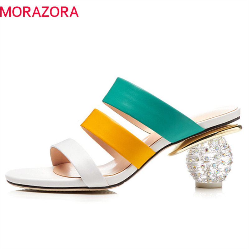 MORAZORA 2019 new arrive women sandals genuine leather shoes mixed color hollow out summer shoes crystal heels prom shoes womanMORAZORA 2019 new arrive women sandals genuine leather shoes mixed color hollow out summer shoes crystal heels prom shoes woman