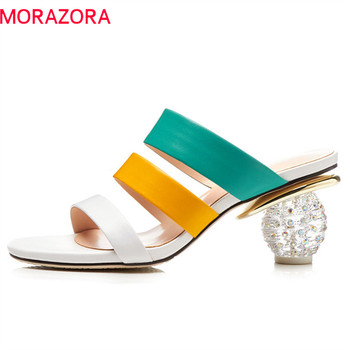 MORAZORA 2019 new arrive women sandals genuine leather shoes mixed color hollow out summer shoes crystal heels prom shoes woman