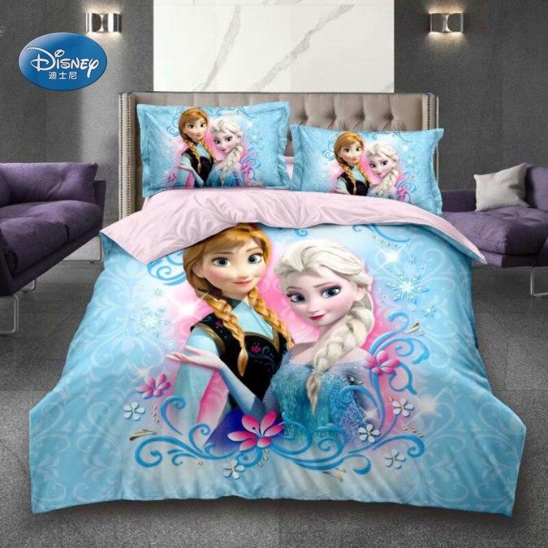 Ev ve Bahçe'ten Yatak Takımları'de 3D baskılı nevresim takımı dondurulmuş Elsa Anna Rapunzel prenses kız erkek tek Bedlinen nevresim yastık kılıfı 0.9m 1.2m yatak title=