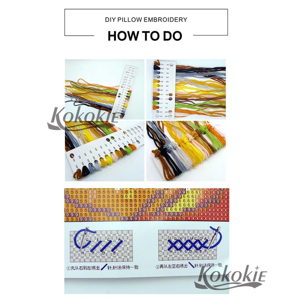 DIY צלב סטיץ ערכות רקמת חוט כרית ביצוע ערכת חוט לזרוק כרית צלב-תפרים רקמת כרית כיסוי ערכות
