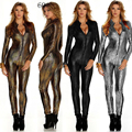 2016 Stage Outfit Faux Couro De Cobra Impressão Bodysuits Sexy Night Club Rompers Mulheres Macacões Playsuits Completo Manga Comprimento Total