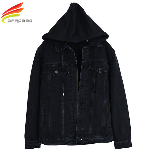 d7d163153ad New 2018 Hooded Black Jean Jacket Women Boyfriend Denim Jacket Autumn  Womens Jackets and Coats Single Breasted Jeans Jacket