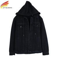 New 2018 Hooded Black Jean Jacket Women Boyfriend Denim Jacket Autumn Womens Jackets and Coats Single Breasted Jeans Jacket
