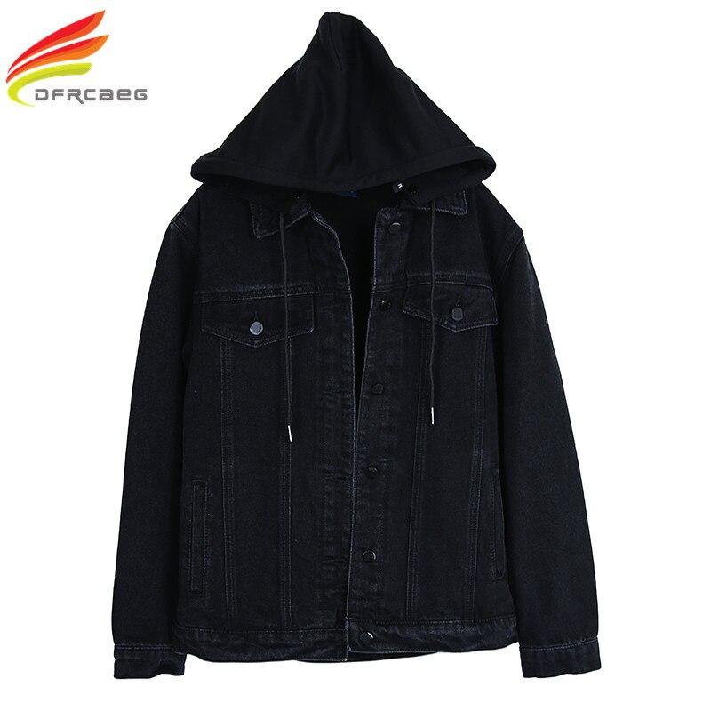 Nouveau 2018 veste en Jean noir à capuche femmes veste en Jean copain automne femmes vestes et manteaux veste en Jean à boutonnage unique