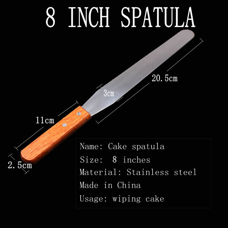 Stainless Steel Palette Knife Baking Tools,8 Inch Wooden Handle Spatula,Pastry Cream Knife/Blade,Cake tool,Cake Decorating Tools