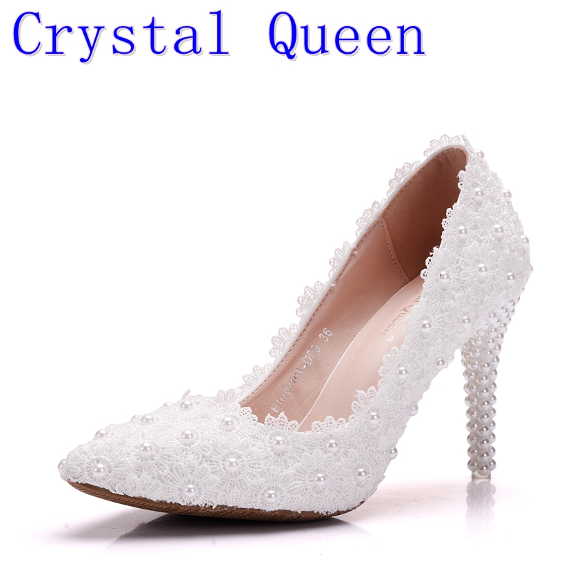 Crystal Queen Lace Flower Wedding Shoes Beautiful Handmade Women High Heels Girl Party Prom Pumps Bridal Shoes White 9CM Heels new arrival white wedding shoes pearl lace bridal bridesmaid shoes high heels shoes dance shoes women pumps free shipping party