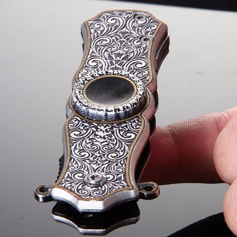 Ponta do dedo giroscópio faca multi-função ao ar livre auto-defesa faca mini dedo giroscópio brinquedo criativo faca dobrável