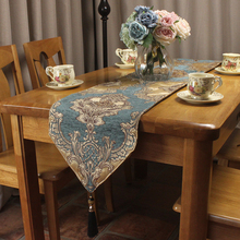 Blue Elegant European Royal Style Chenille Jacquard Luxury Table Runners for Formal Home Decoration Custom Size