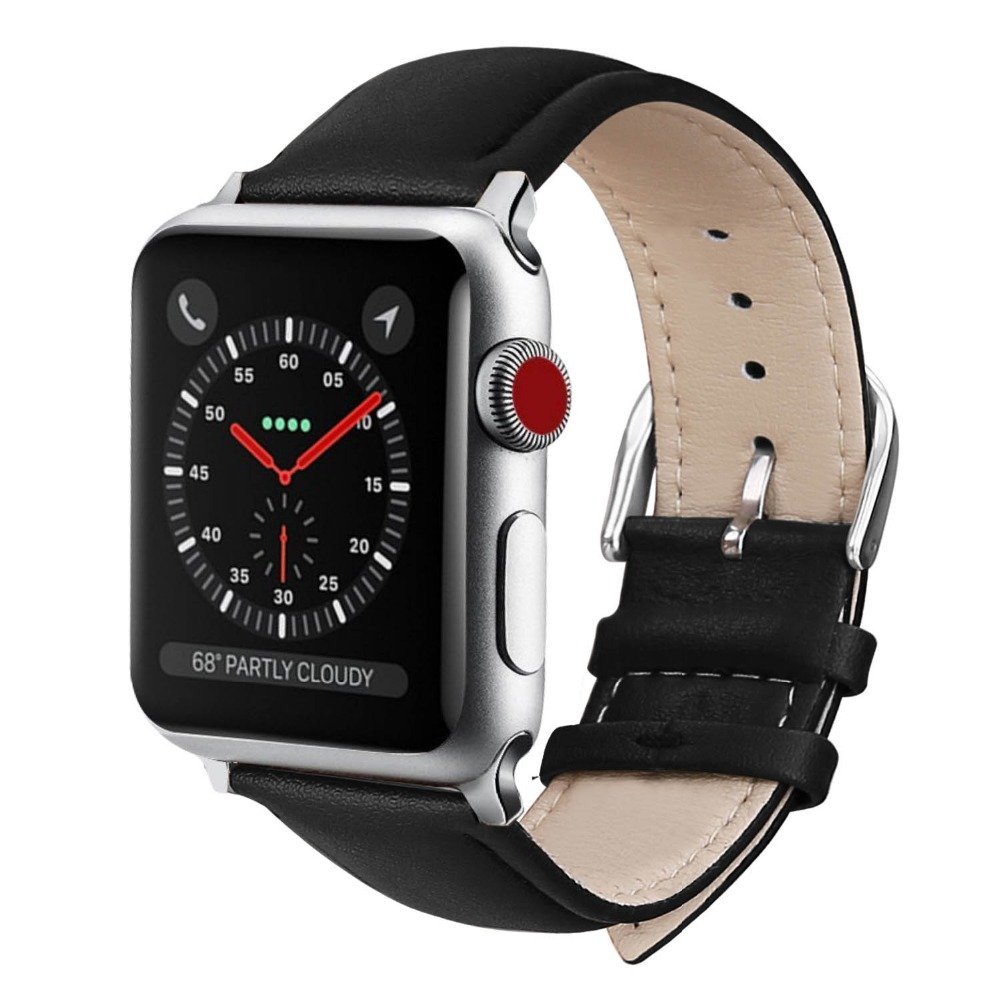 Wristband for Apple watch bracelet belt black watchbands genuine leather strap watch band 38mm 42mm iwatch series 3/2/1 cowhide genuine leather strap watch band for apple watch iwatch series 1 series 2 38mm 42mm wristband replacement with adapter