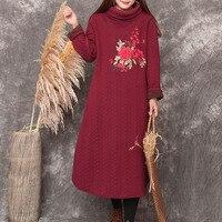 Winter vrouwen grote maat tall hals borduren jurken gewaad herfst coltrui lange mouw losse dikke fleece warm losse jurk gown