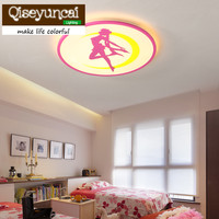 Qiseyuncai Children's room beautiful girl acrylic led ceiling lamp pink sweet warm cartoon characters lovely girls room lamps