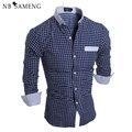 Free Shipping Summer New Simple Designer Fashion Men Slim Long Sleeve Plaid Shirts Casual Social Shirt Camisa Masculina 13M0480