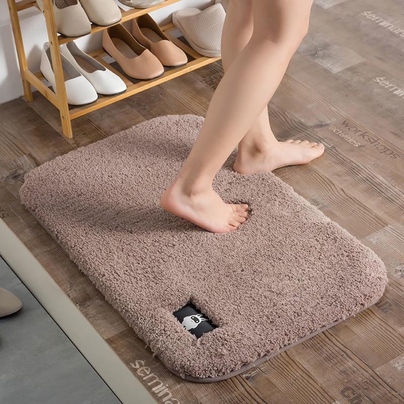 Microfiber Plain Mats BathMat Rugs Anti-Silp Doormat Floor Carpet Bathroom Footmat