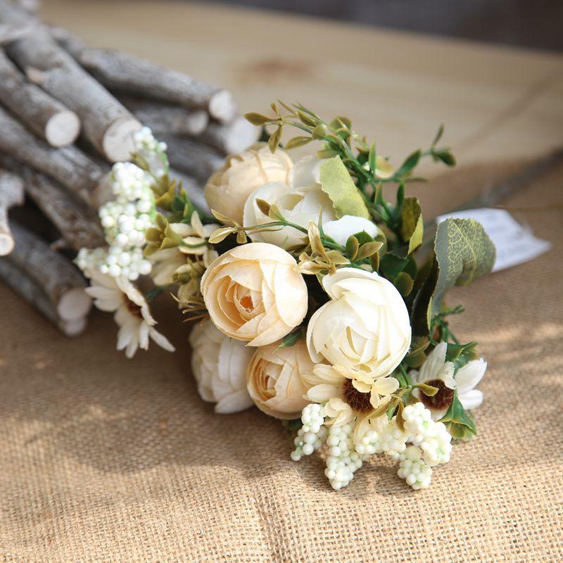 5 pic шелковые цветы искусственные цветы Мини Роза моделирование Роза домашнего декора для Свадебная вечеринка Небольшой букет роз декорати... ...