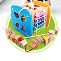 Children's Educational Toy Box Shape Sorting Wooden Wooden Beads Activity Toys Early Development Toys Puzzle Set for Toddlers