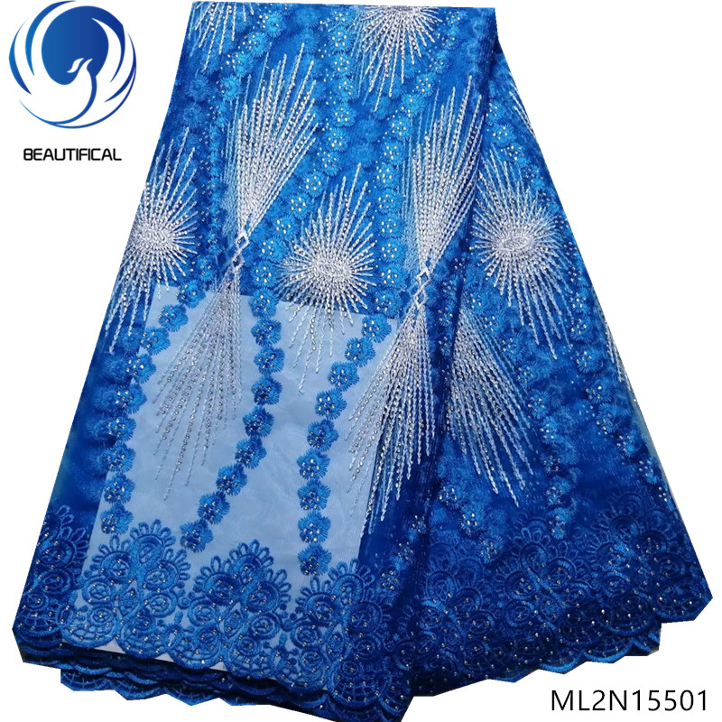 BEAUTIFICAL blue lace fabric mesh lace fabric guangzhou lace fabric wholesale with rhinestones 5yards/lot 2019 sales ML2N155BEAUTIFICAL blue lace fabric mesh lace fabric guangzhou lace fabric wholesale with rhinestones 5yards/lot 2019 sales ML2N155