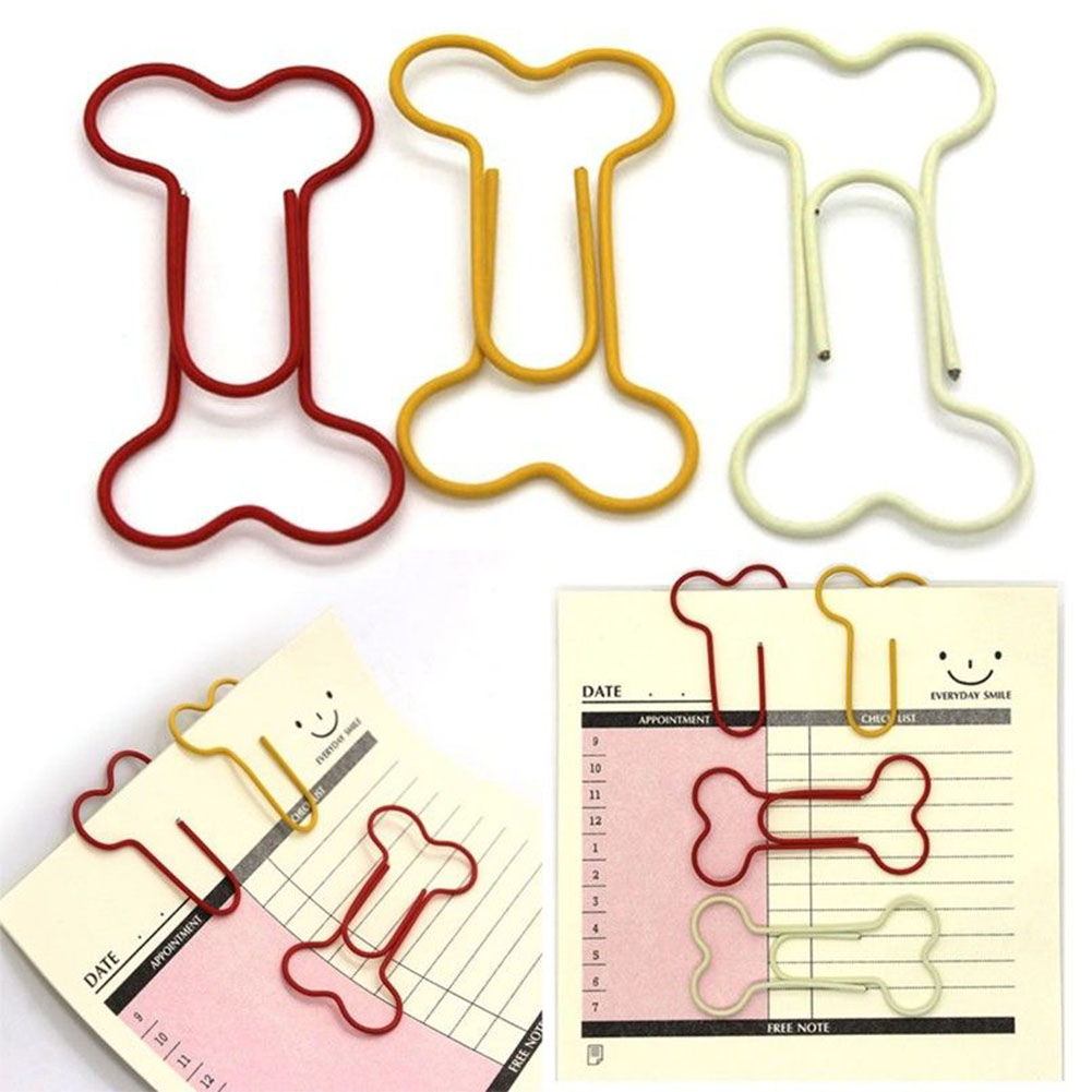 Art Projects Student Bookmark Crafts For Scrapbook Stationery Office Useful Paper Clips Dog Bone Shape 24pcs/pack Metal