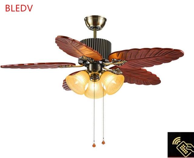 hoge kwaliteit antieke houten plafond ventilator lamp europese massief houten woonkamer ventilator verlichting restaurant plafond ventilator
