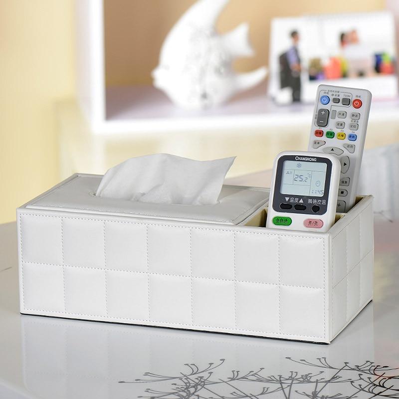 Quality fashion leather tissue box pumping paper box desktop remote control storage box