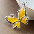 Ecoworld Ge hand set jewelry wholesale natural Topaz Butterfly Pendant Silver cord lady 925 Sterling Silver Pendant