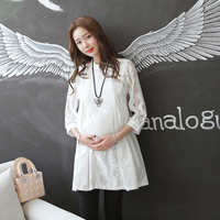 OkayMom Maternity Blouse Shirt Dress Fashion White Lace Clothes For Pregnant Women Pregnancy Wear Tops Tees Clothing 2018