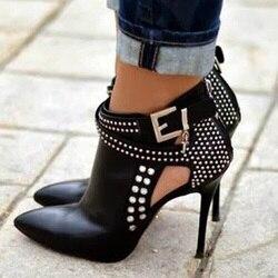 Botines de tacón alto para mujer, botas de cristales zapatos con lentejuelas, tacones altos, tacones negros, stilettos, talla de EE. UU.