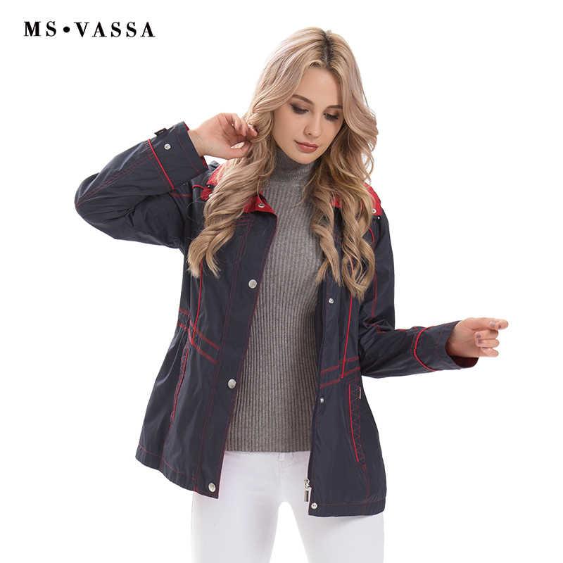 MS VASSA женские куртки 2019 новые весенние Осенние повседневные пальто съемный капюшон отложной воротник размера плюс 6XL 7XL верхняя одежда