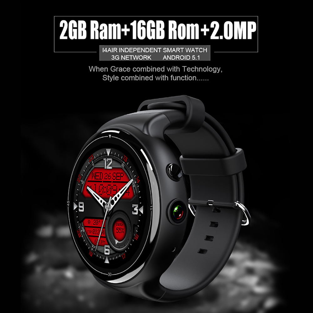 Smart Watch Phone 2G 3G Nano SIM Card GPS BT WiFi 16G 2G 2MP Camera Heart  Rate Monitor Android 5 1 OS Smartwatch For Men Women