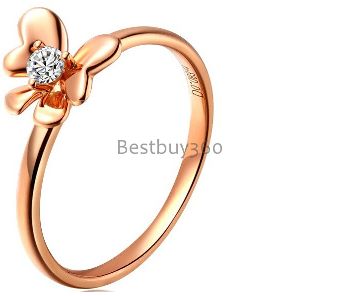0.5ct 925 sterling silver butterfly solitaire simulated diamond wedding love ring for women (YD)