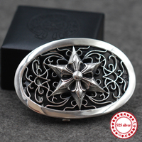 925 sterling silver men's belt button personality domineering classic hip hop punk style cross hexagram anchors modeling gift