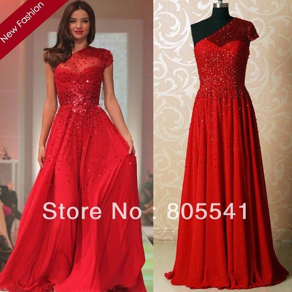Miranda Kerr lindo Red andar de comprimento Red Carpet Formal vestido A linha de um ombro Sheer frisada Backless Red Celebrity Dress