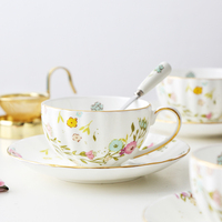 MUZITY Ceramic Coffee Cup And Saucer With Spoon Bone High Quality China Tea Cup Set Decoration With Liquid Gold