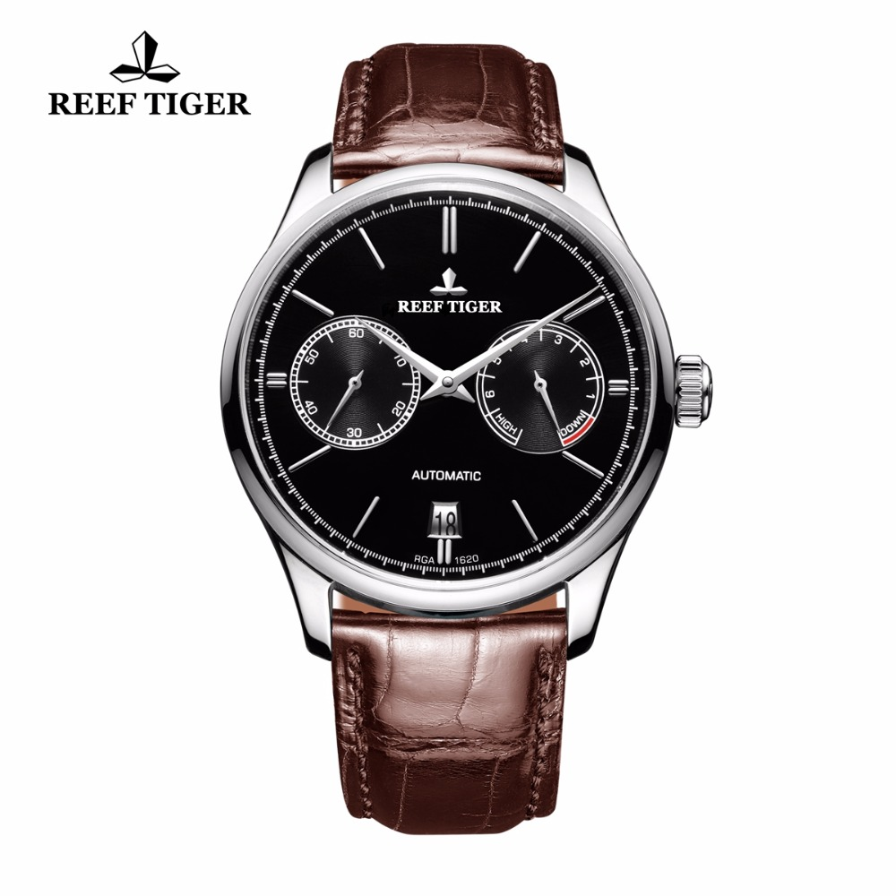 Reef Tiger/RT Elegant Business Mens Watch Automatic Steel Watch with Calendar Small Seconds Power Reserve RGA1620