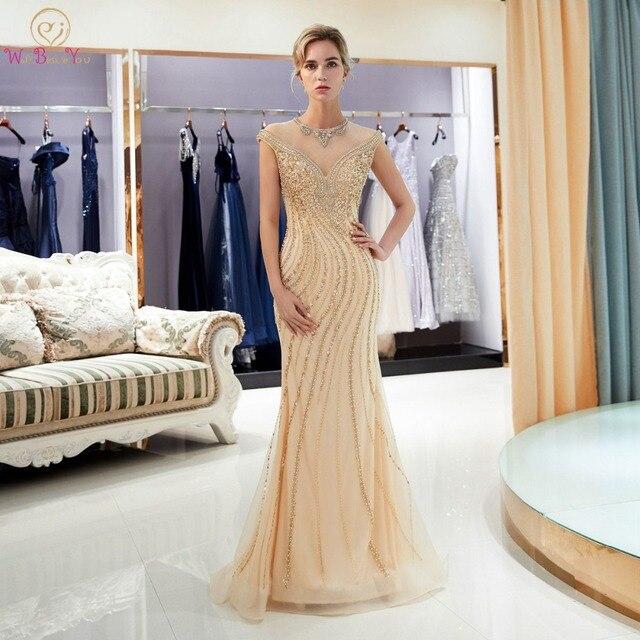 Złote suknie wieczorowe spacer obok ciebie syrenka wyszywana kryształkami bez rękawów Sukienka Wieczorowa Vestidos Formales królewska suknia Wieczorowa