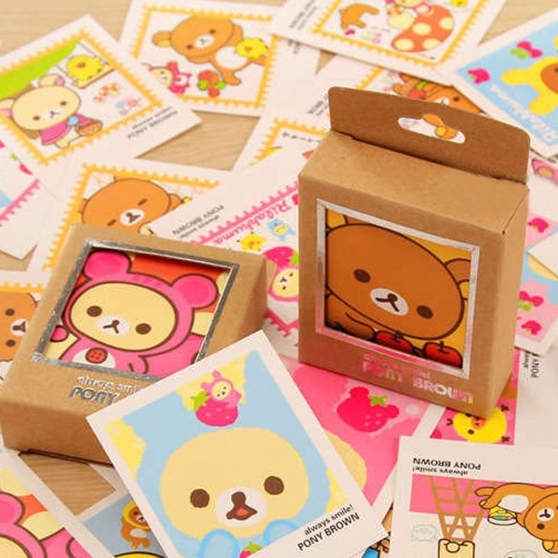 40pcs Cute Kawaii Bear Decorative Lomo Kraft Paper DIY Postcard Post Greeting Card Picture Cards