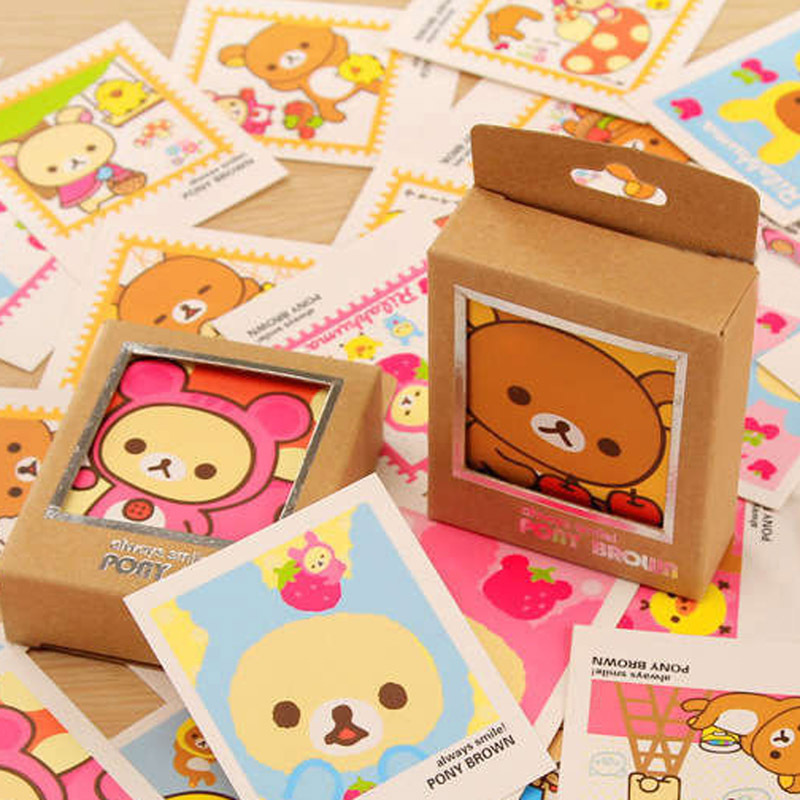 40pcs Cute Kawaii Rilakkuma Decorative Lomo Kraft Paper DIY Postcard Post Greeting Card Picture Cards