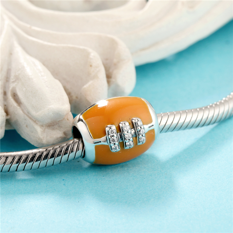 American Football Mit CLEAR ZIRCONIA Charm Beads Fit Original - Modeschmuck - Foto 5