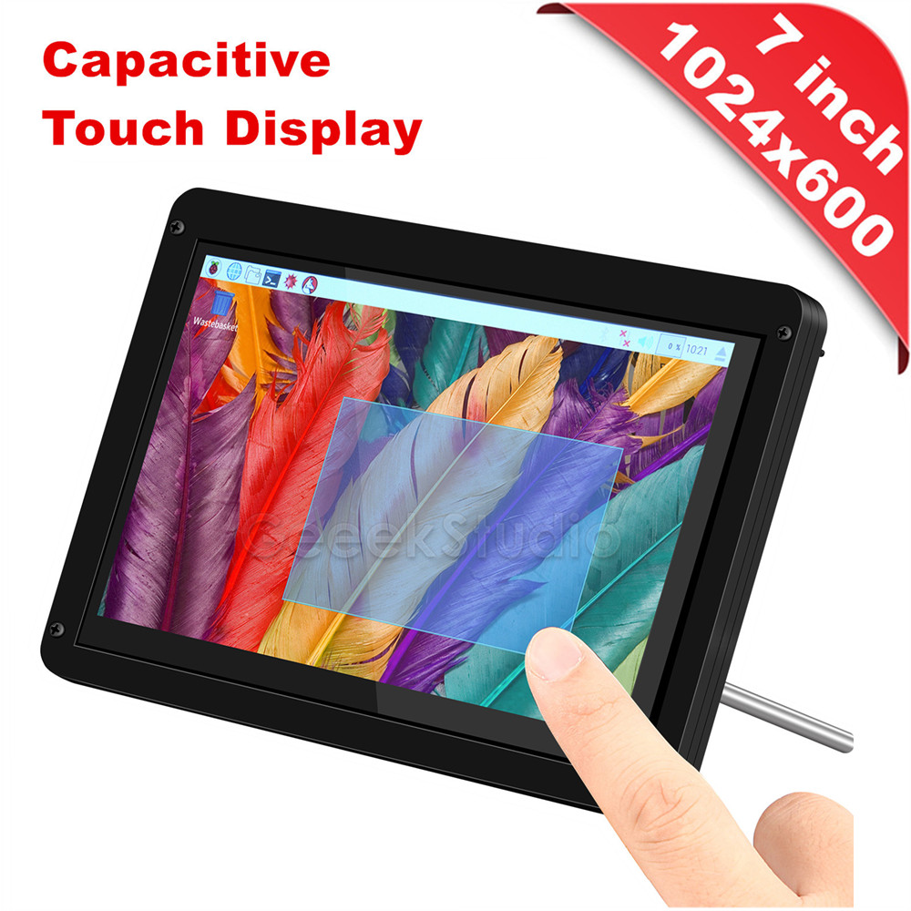 Driver libero Plug Gioca 7 pollice 1024*600 Capacitivo Touch Screen Display e Supporto Acrilico/Caso per Raspberry pi/Finestre/Macbook