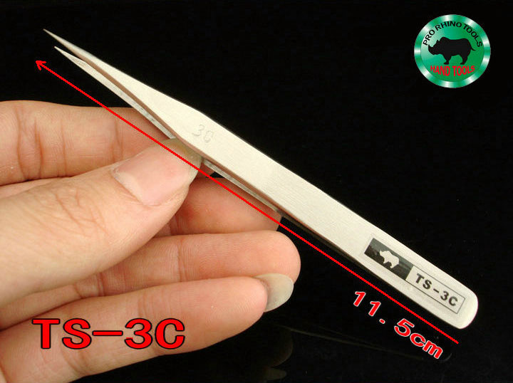 Japanese RHINO TS-3C Tweezers Length 11.5cm High-precision Super Hard Super Sharp Forceps For Repairing Watch Or Mobile Tools