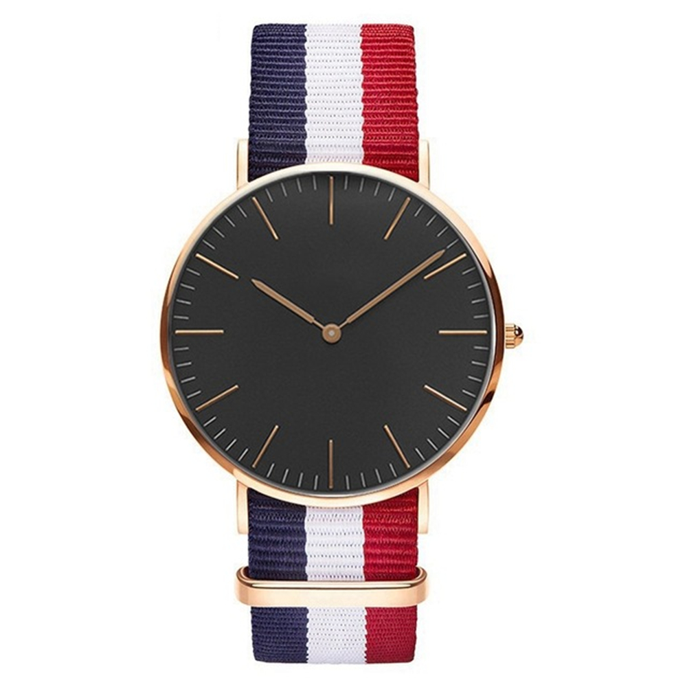 Luxury Brand Watch Women Multicolor Stripe Nylon Fabric Canvas Sports wristwatch Women Casual Watch Super Thin Platimum Watches stylish multicolor stripe pattern bucket hat for women