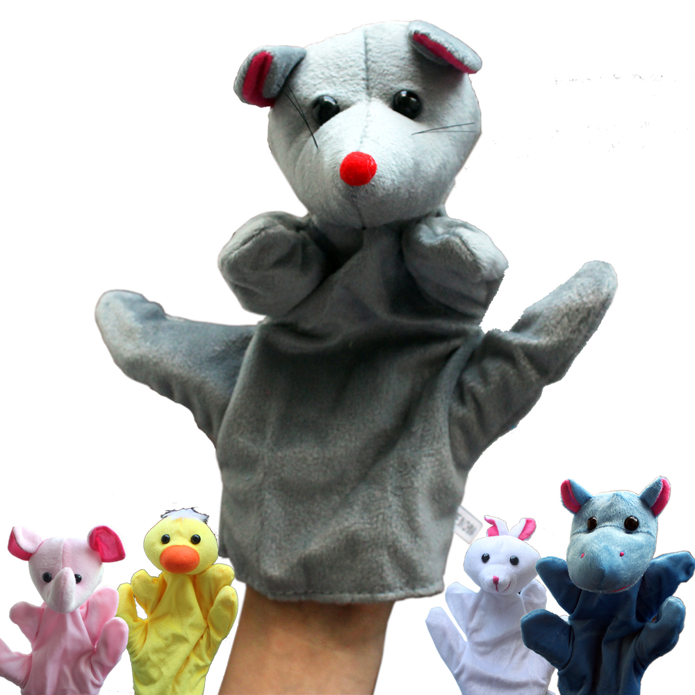 1 PCS Cute Cartoon Animal Plush Hand Puppets for Kids Large Infantil Fun Glove Finger Doll