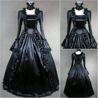 Free Shipping 2017 Hot Sale Elegant Palace Halloween Long Sleeve Victorian Gothic Lolita Dress Fantasias Cosplay Party Dresses