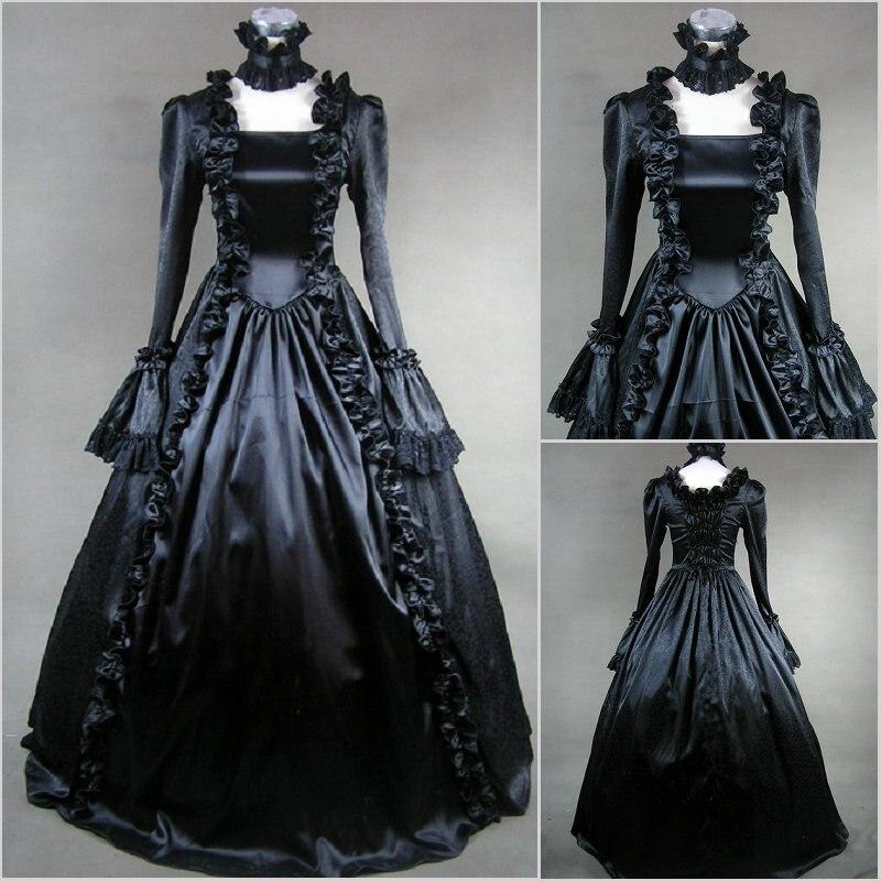 Livraison gratuite offre spéciale élégant palais Halloween à manches longues victorien gothique Lolita robe Fantasias Cosplay robes de fête