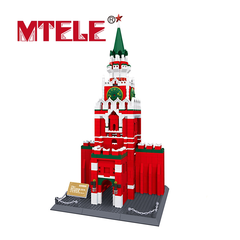 MTELE Brand Famous Architecture series The spasskaya Tower Of Moscow KREMLIN Model High Quality architecture of the north western district of azerbaijan