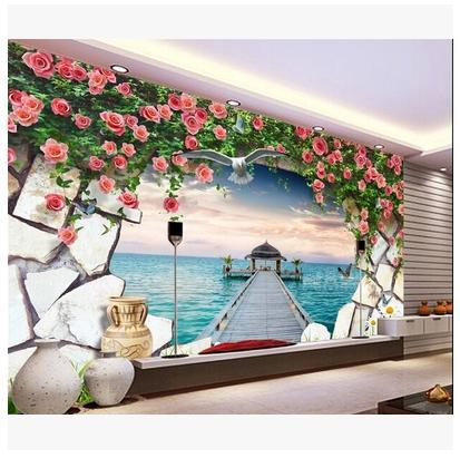 Free shopping 2015 New Mediterranean rose vine orchid piers large seascape paintings lie sofa sitting room wallpaper Обои
