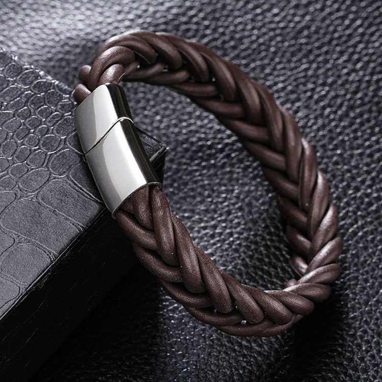 MOGE Fashion Men Jewelry Black Brown Braided Genuine Leather Bracelet Men Stainlees Steel Cuff Bracelets&Bangles Men Jewelry